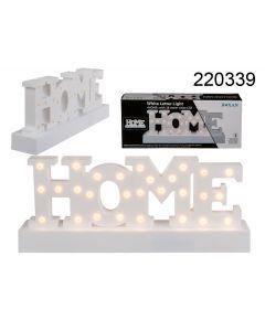Tekst HOME met led-lampjes