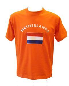 Oranje t-shirt met vlag/Netherlands