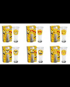 Set bierglazen emoticons (6 stuks)